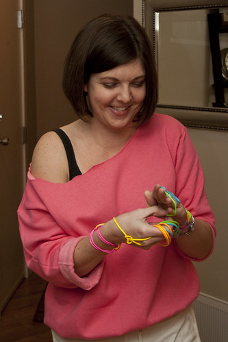 Jess prepares her bracelets