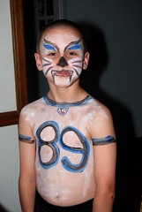 Gigi turned Eric into a fierce Panther player Jacob's 6th birthday party!