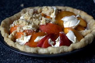 peaches, creme fraiche, half-streuseled