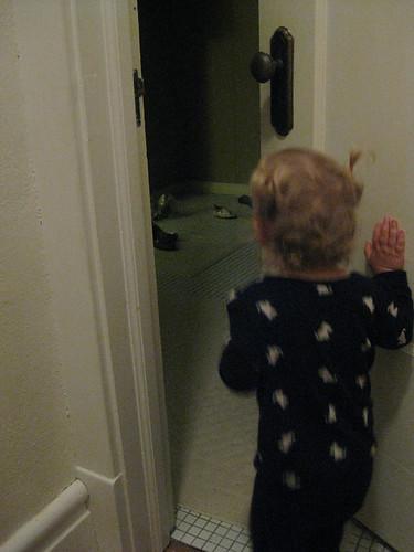 pushing the door back open