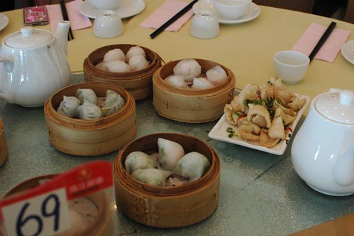 Har Gow (shrimp dumplings), scallop dumplings, salt & pepper squid, steamed prawn & chives dumplings, steamed spinach dumplings