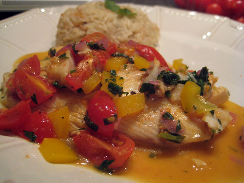 Tilapia and veggies in tequila lime reduction