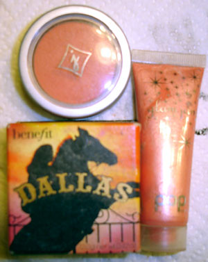 Jordana Blush, Pop Beauty shimmer and Benefit Dallas