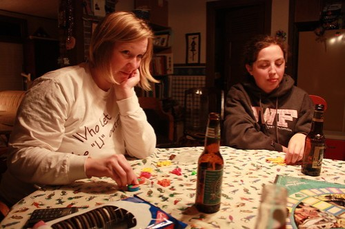 Mary and Sarah during Trivial Pursuit