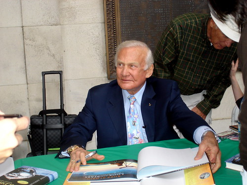 Aldrin signing books