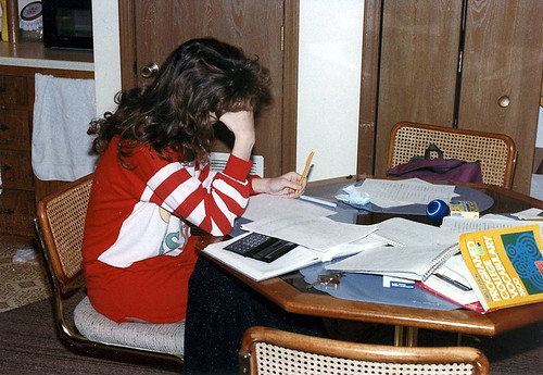 Studying for College, circa 1990