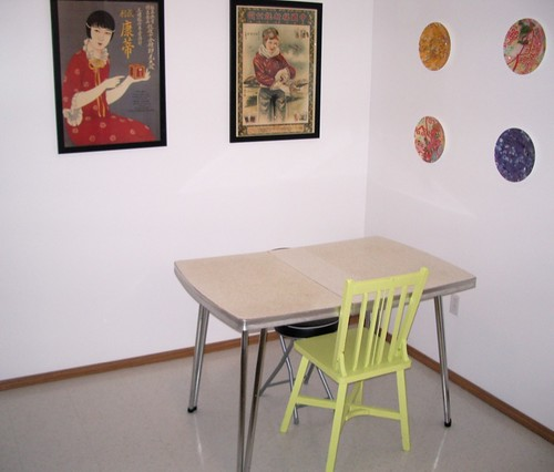 Before: Value Village formica table, Kijiji chair, pathetic Canadian Tire stool.