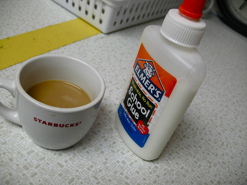 cream in the glue container