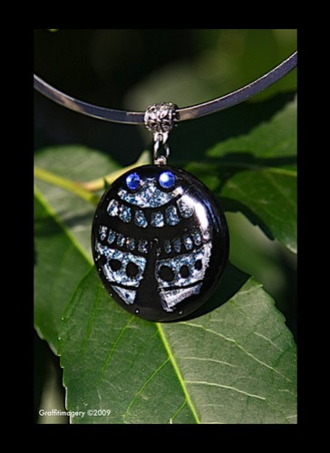 MEET THE BeETLeS dichroic fused glass ladybug pendant and earrings by you.