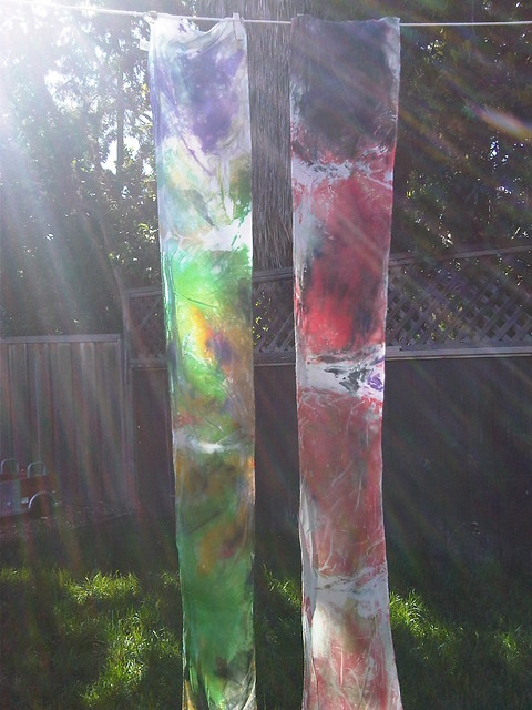 Dyed Scarves on the Line