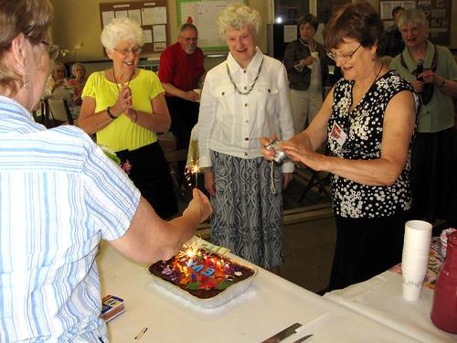 Eva Turner admires her birthday cake.
