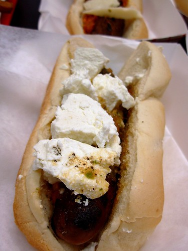 Merguez Lamb Sausage with Spicy Harissa and Goat Cheese