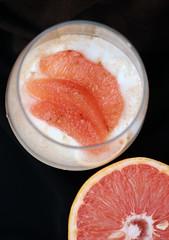 Grapefruit & yogurt-dark background