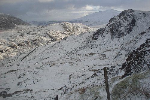 Looking down on Pen y Pass from the Pyg Track