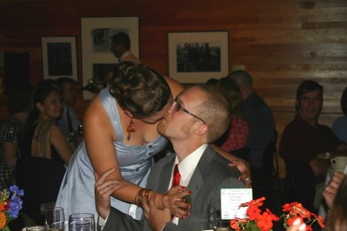 kissing after a toast