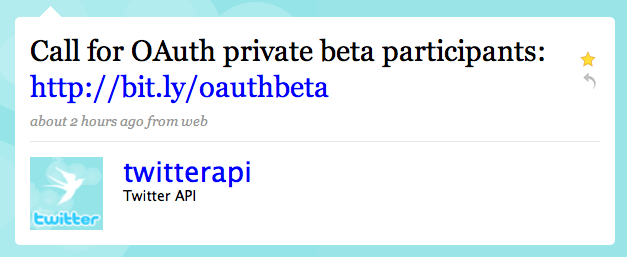 Twitter / Twitter API: Call for OAuth private beta participants ...