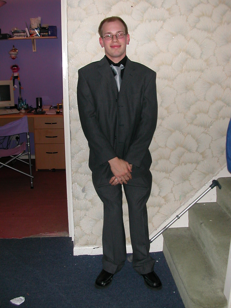 Rob in a suit! Ready for our ball