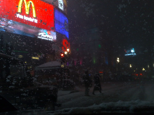 Piccadilly Circus in the snow by you.