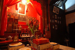 Alter inside the Tran Family Chapel in Hoi An - the boxes hold the ashes of generations of family members