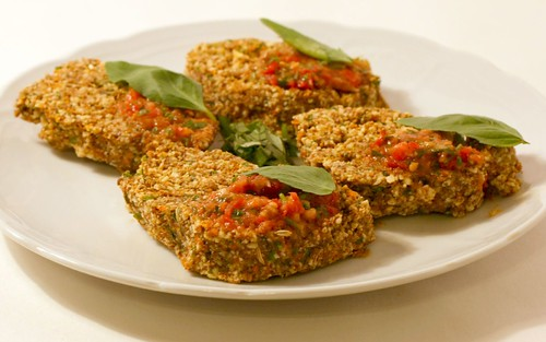 """Raw Foods"" Bruschetta with salsa and basil"