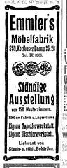 Anzeige Emmler's Möbelfabrik, 1909