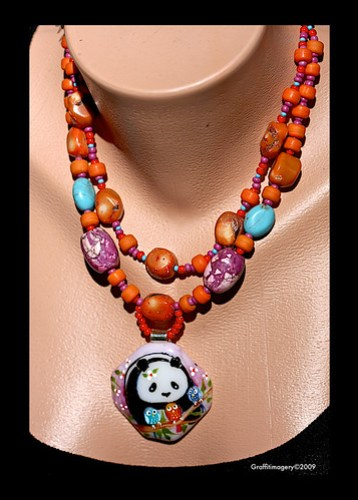 MINDI PANDA AND HER BINDI BIRDS..fused glass necklace by Sandra Mlller by you.