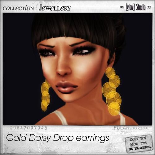 [ glow ] studio - gold daisy drop earrings