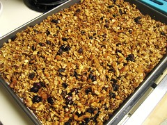 granola, golden brown from the oven