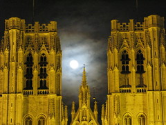 Brussels Cathedral towers and moon