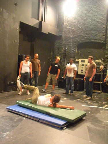 Some people say this is a show about penises.  I, on the other hand, think its a show about falling.  Right after the first read, fight choreographer David Woolley started teaching the boys how not to break their necks when they get thrown to the ground.
