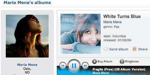 White Turns Blue album by Maria Mena on MySpace Music - stream full MP3 songs and albums