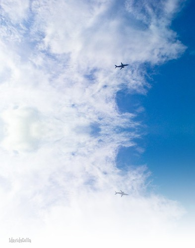 aeroplane, blue sky and clouds