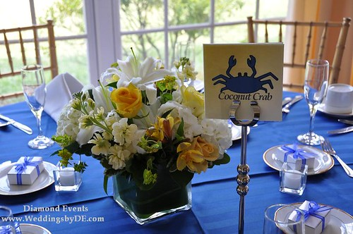 Tablescape with crab table numbers