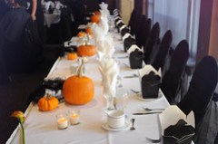 the wedding party's banquet table