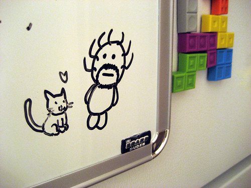 We put a white board on our new fridge. (Dude by my boyfriend, Cat by me)