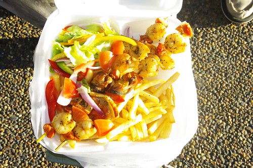 Long Island Cafe Seafood Skewers with chips and salad $11 by you.