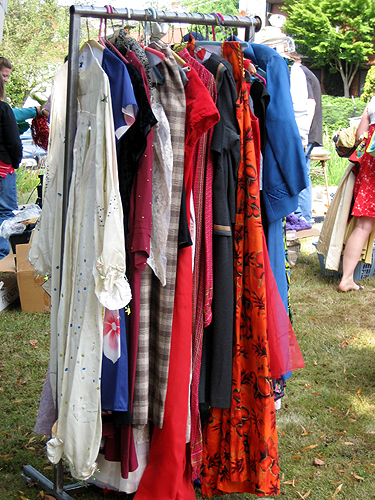 Rack of clothing and costumes