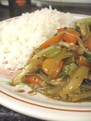 Pork Chop Suey with Jasmine Rice