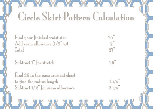 Circle Skirt Pattern Calculation