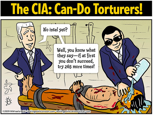 CIA torture, cartoon by Mikhaela