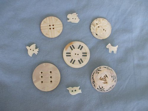 Marty's vintage button collection - carved shell