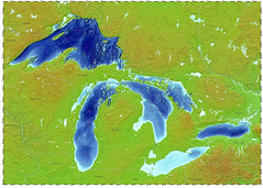 Topographic and bathymetric map of the Great Lakes