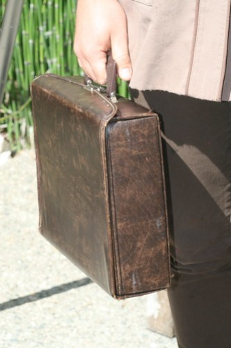 LeFever carries his school belongings in a brown briefcase gifted by his friend John