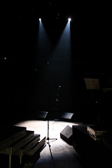 Microphone stands in spotlight