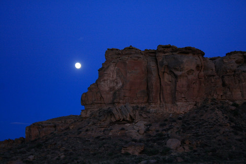 The moon rises over South Mesa