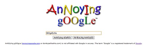 Annoying Google: Google con Letras Desconcertadas