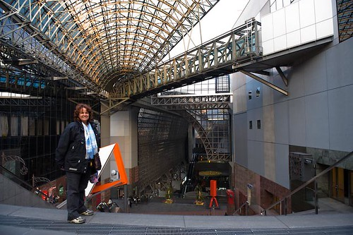 Cathy at the Kyoto train station