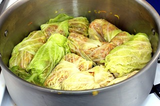 cabbage rolls, ready to be cooked
