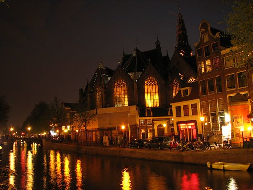 Oude Kerk at night by you.