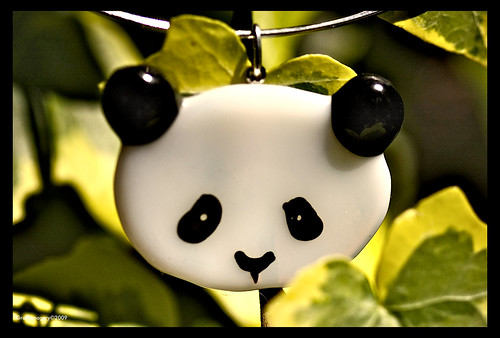 SIMPLY...PANDA , fused glass pendant by Sandra Miller by you.